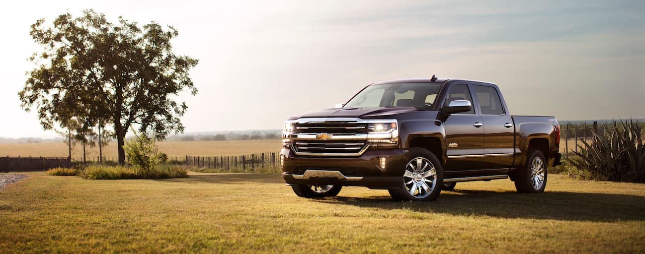 A dark brown 2018 Chevy Silverado, which wins when comparing the 2018 Chevrolet Silverado vs. 2018 Toyota Tundra, is parked in a field during a sunset near Cincinnati, OH.