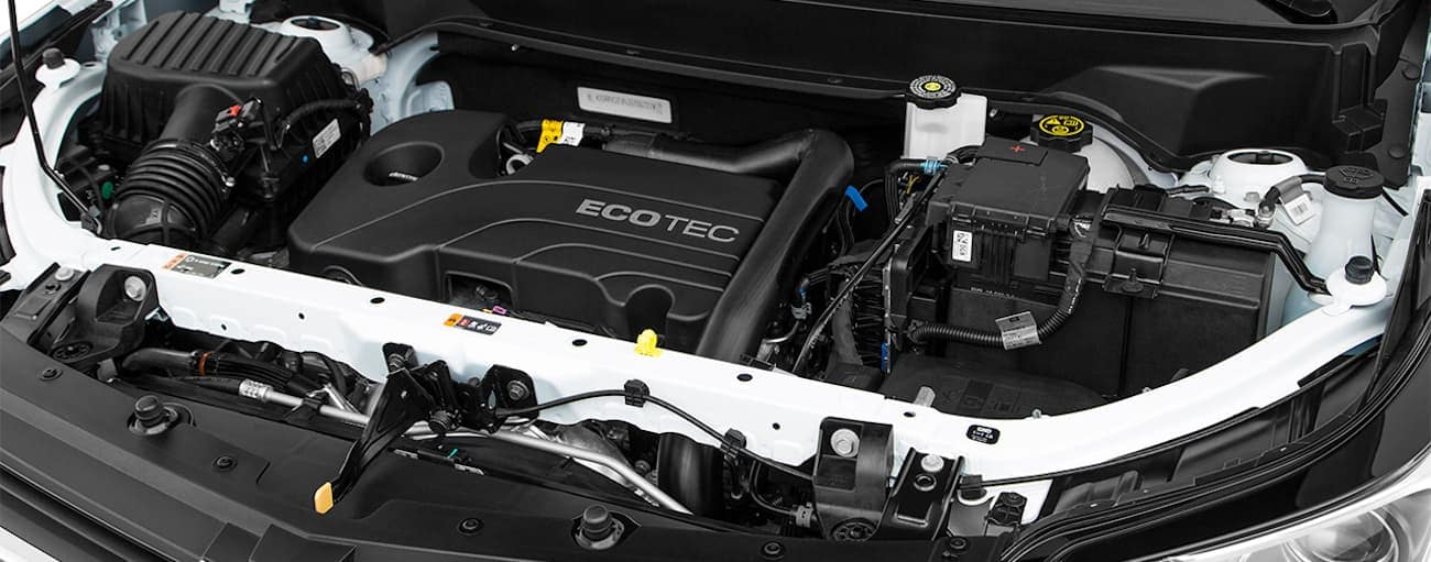 The engine bay of the 2018 Chevy Equinox is shown.