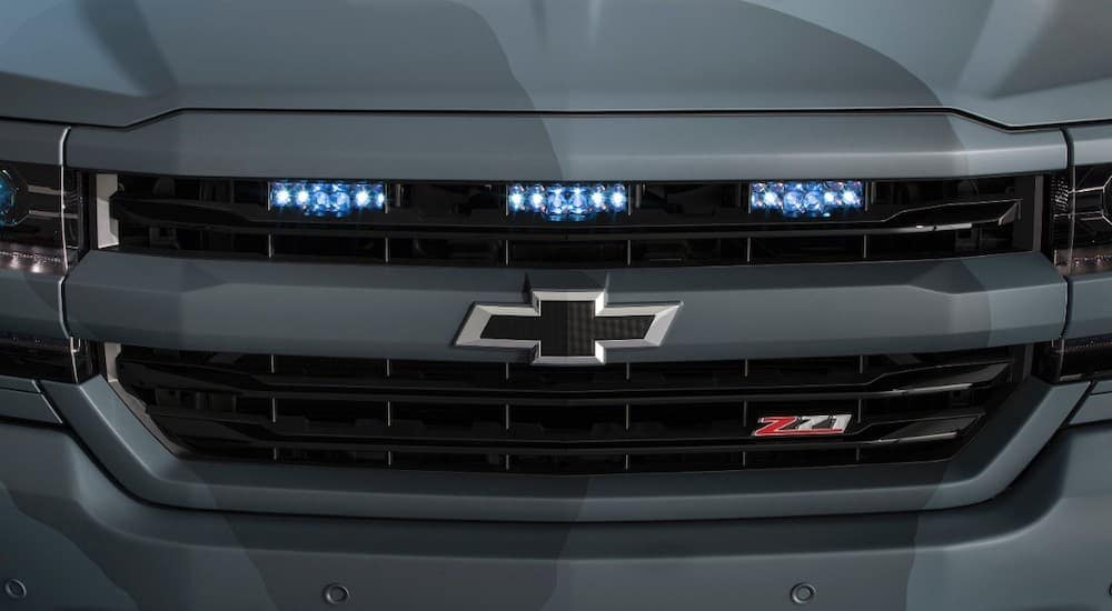The front grille of the 2015 SEMA Chevrolet Silverado SpecialOps is shown with led lights you can get form the car parts store in Cincinnati, OH.