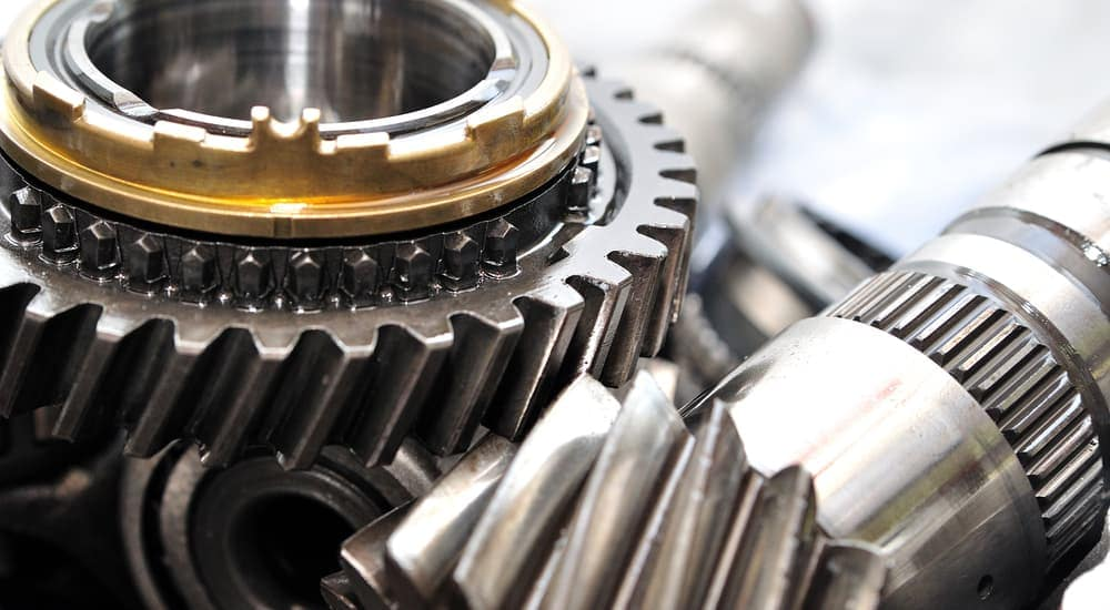 A closeup of gear parts from a car parts store is shown.