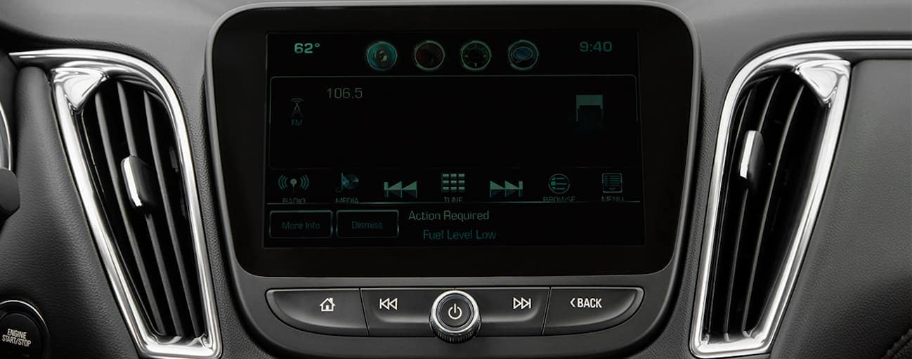 A close up of the touchscreen in the 2018 Chevrolet Malibu is shown.