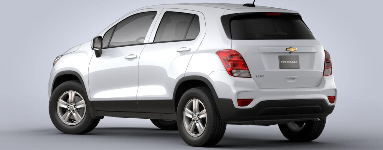 A white 2020 Chevy Trax LS is on a grey background.