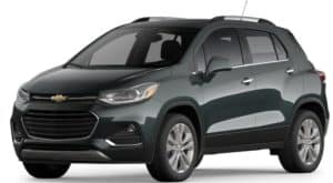 A black 2020 Chevy Trax is facing left.