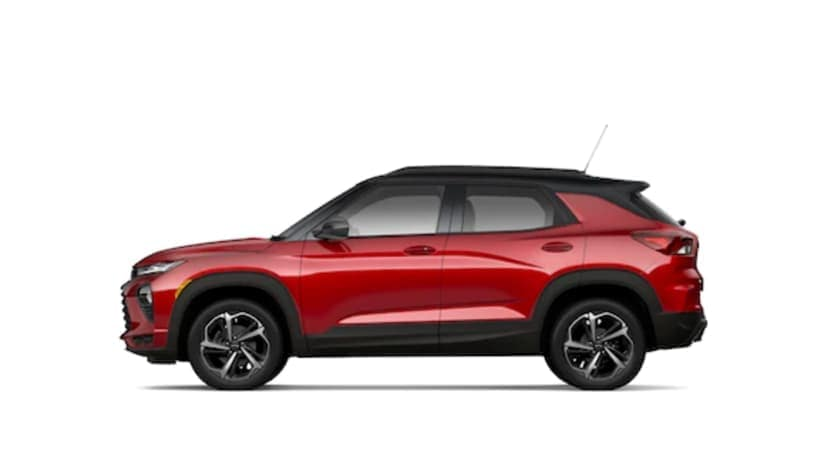 A red 2021 Chevy Trailblazer is facing left.