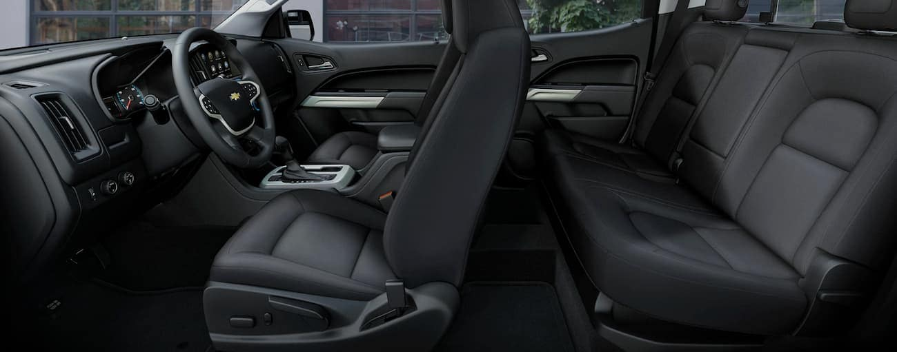 The interior of a 2019 Chevy Colorado is shown, which wins when comparing the 2019 Chevy Colorado vs 2019 Ford Ranger.