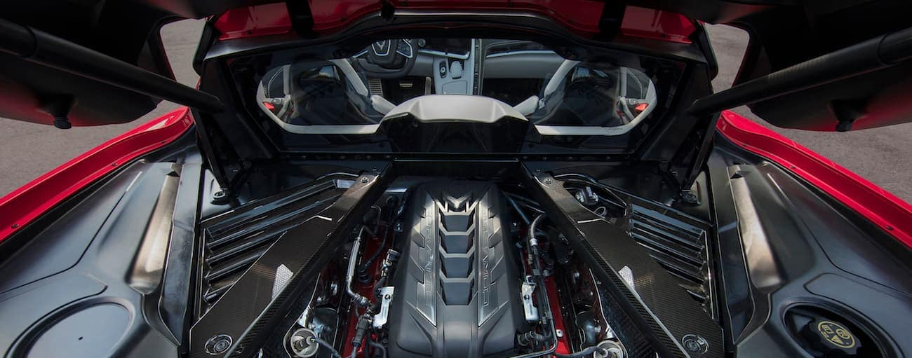 The engine bay of the 2020 Chevy Corvette.