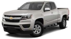 A silver 2020 Chevy Colorado is facing left.