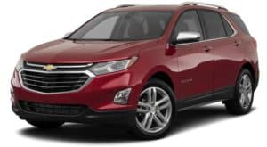 A red 2020 Chevy Equinox is facing left.
