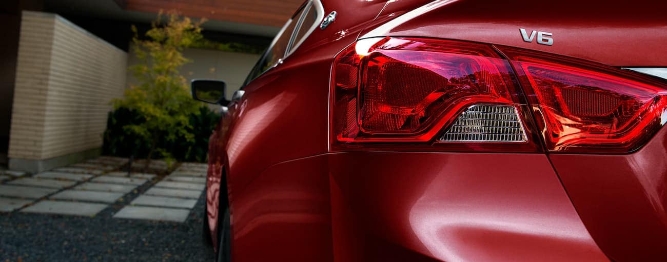 The taillight of a red 2020 Chevy Impala is shown.