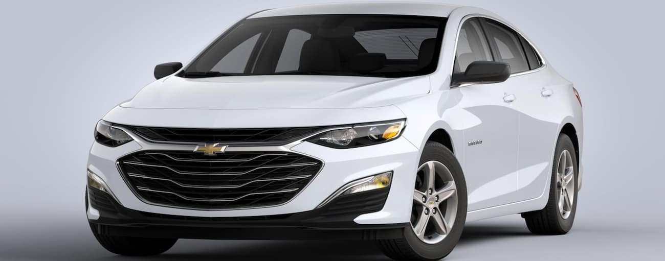A white 2020 Chevy Malibu L is on a grey background.