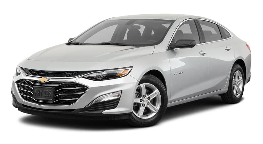 A silver 2020 Chevy Malibu is facing left.