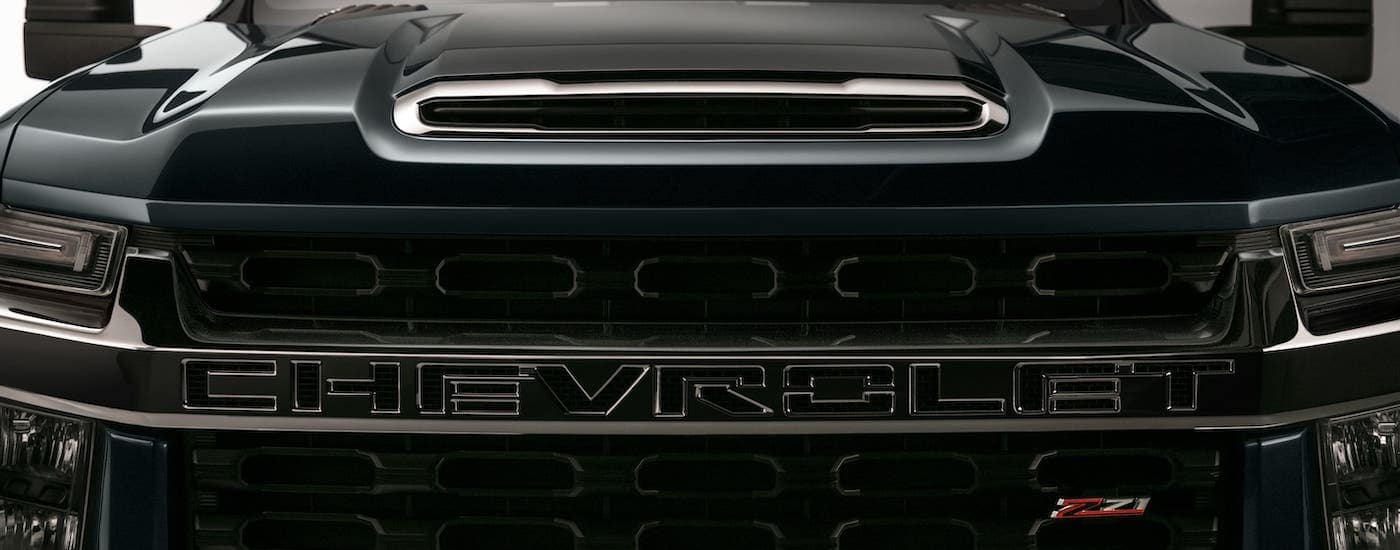 A closeup is shown of the grille on a 2020 Chevy Silverado 3500HD Z71 in Cincinnati, OH.