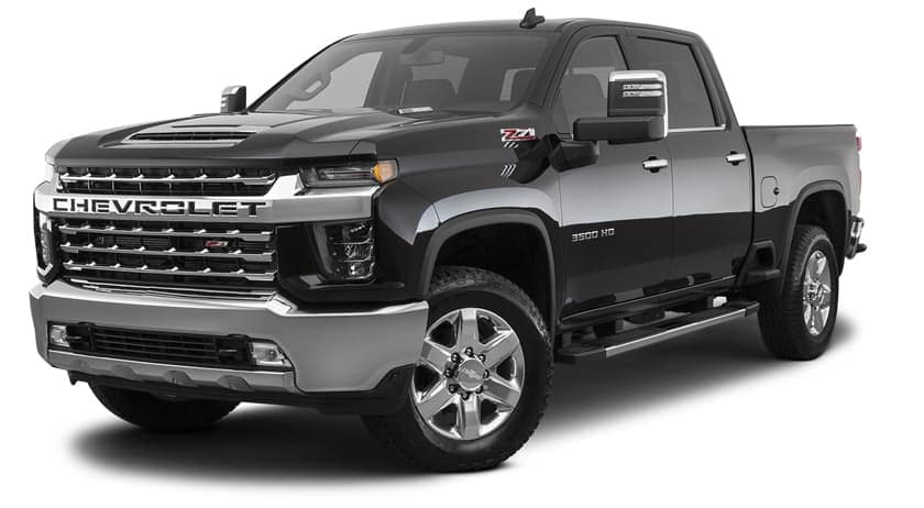 A black 2020 Chevy Silverado 3500HD is angled left on a white background.