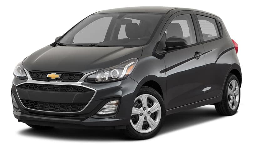 A black 2020 Chevy Spark is angled left on a white background.