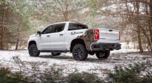A 2021 Chevy Silverado Realtree edition is shown off-road near Buford, GA.