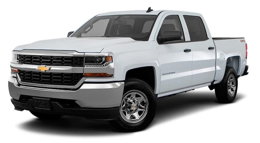 A white 2016 Chevy Silverado LS is angled left on a white background.