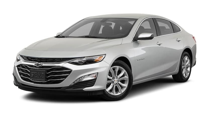 A silver 2019 Chevrolet Malibu is angled left.