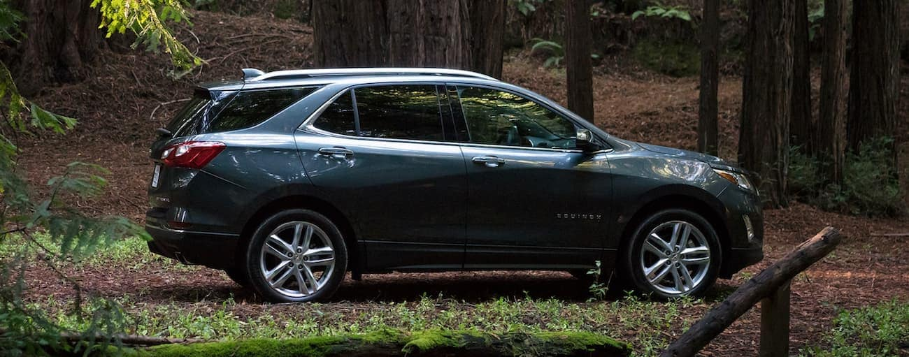 A dark grey 2020 Chevy Equinox is parked on a trail in the woods.