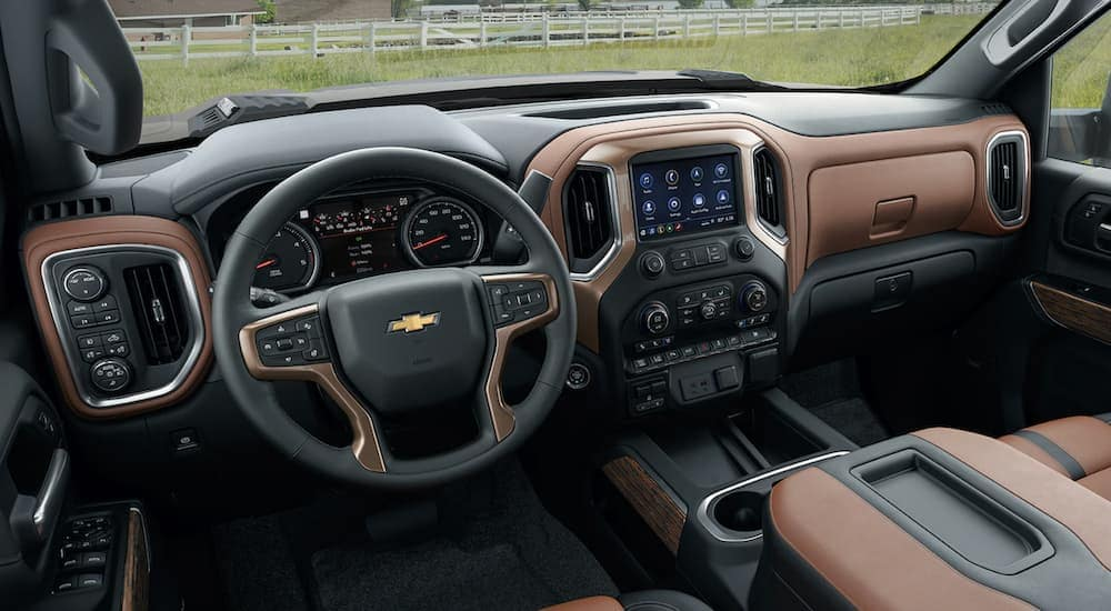 The black and brown dashboard in a 2020 Chevy Silverado 2500HD is shown.