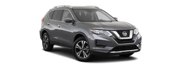 A gray 2020 Nissan Rogue is angled right on a white background.