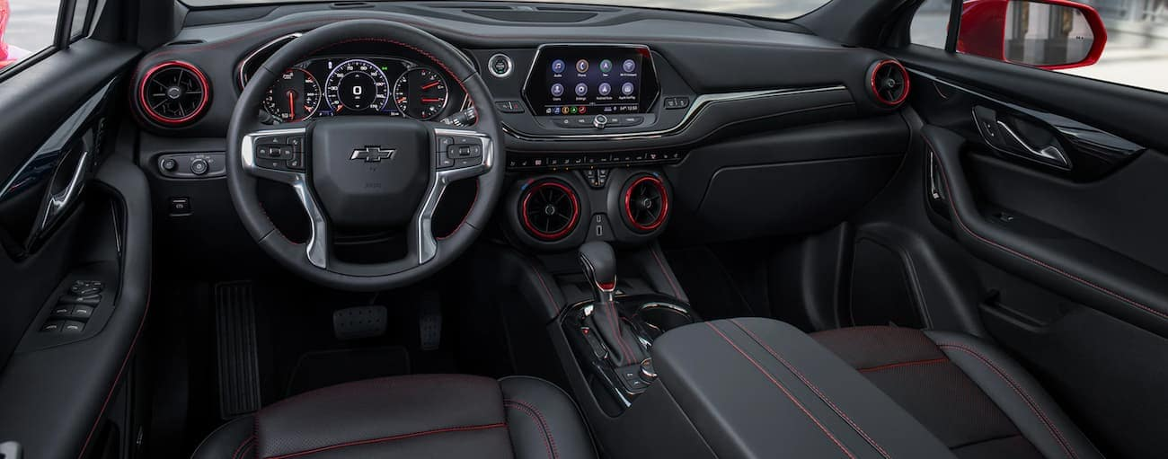 The black interior of a 2020 Chevy Blazer is shown.