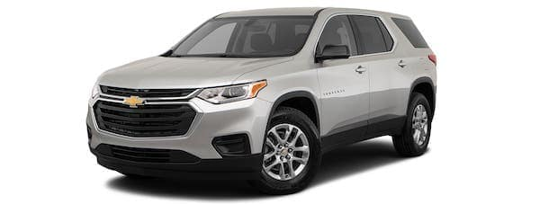 A silver 2020 Chevy Traverse is angled left.