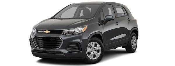 A black 2020 Chevy Trax is angled left.