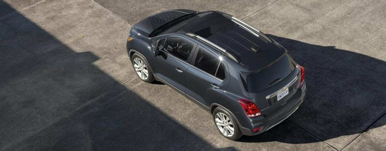 A grey 2020 Chevy Trax is shown from above in a parking area after winning the 2020 Chevy Trax vs 2020 Buick Encore comparison.