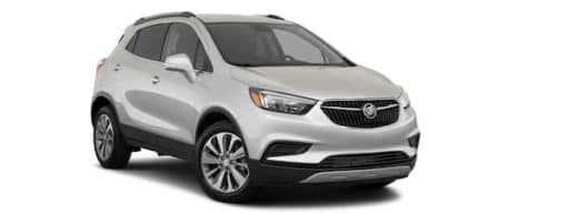 A silver 2020 Buick Encore is angled right.