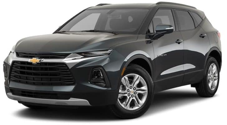 A dark green 2021 Chevy Blazer is angled left.