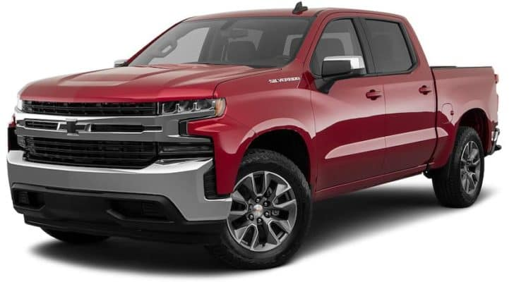 A red 2021 Chevy Silverado 1500 is angled left.