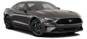 A black 2021 Ford Mustang GT is angled right.