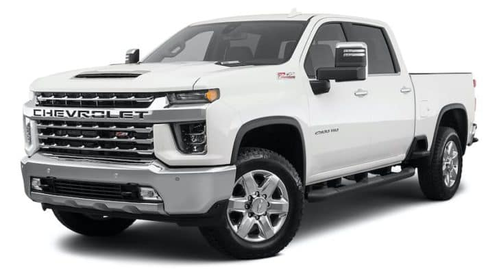 A white 2021 Chevy Silverado 2500 HD is angled left.