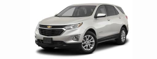 A silver 2021 Chevy Equinox is angled left.