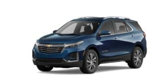 A blue 2022 Chevy Equinox is angled left.