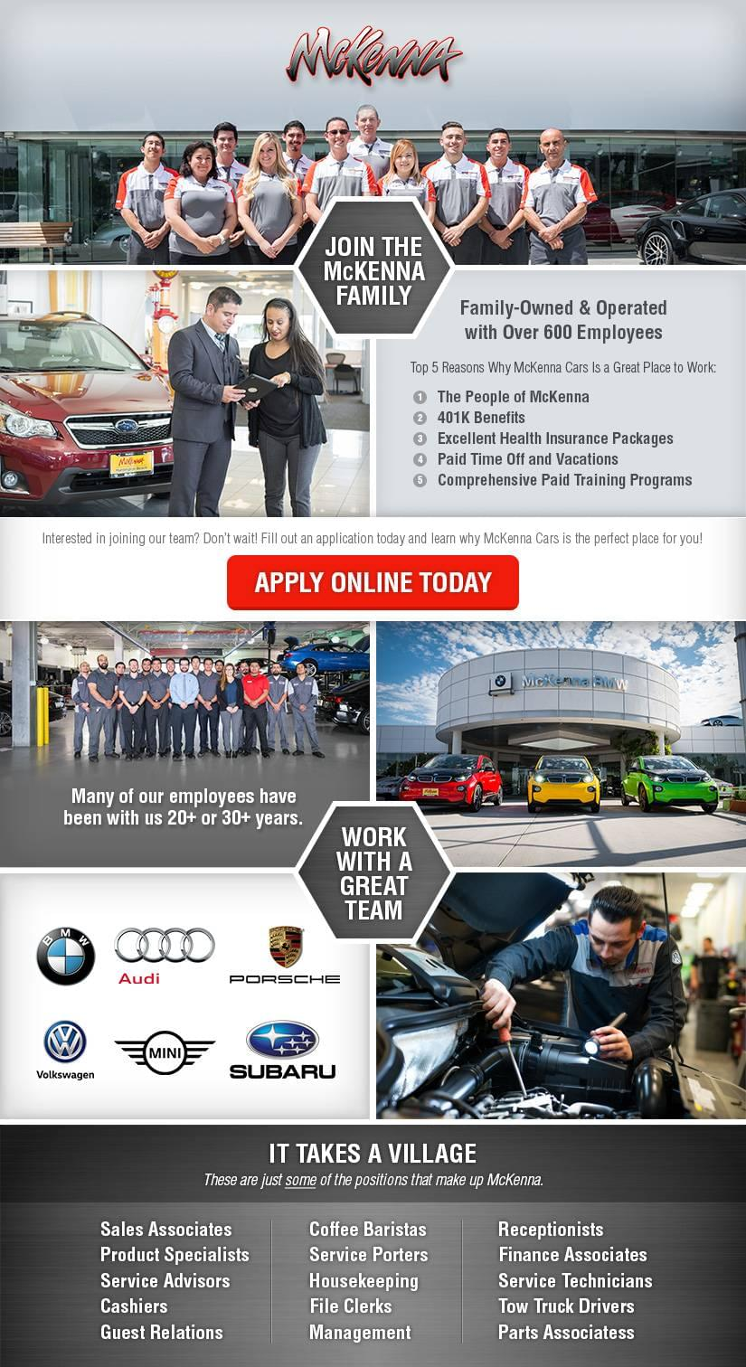Dealership Automotive Jobs | McKenna European Auto Center
