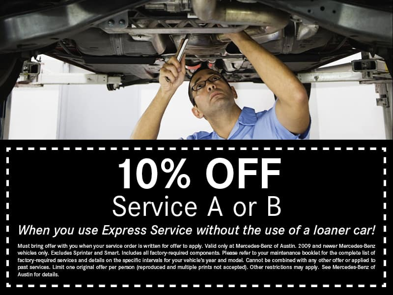 Service and parts specials mercedes benz of austin for Mercedes benz service b coupons