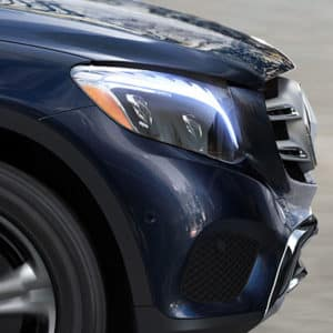 mercedes-benz glc front of car from side with focus on the head light