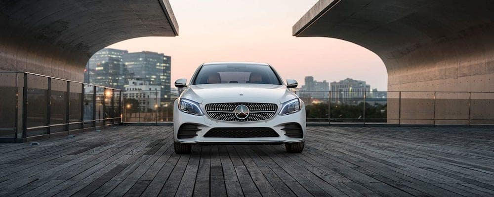 2019 c-class sedan parked by city