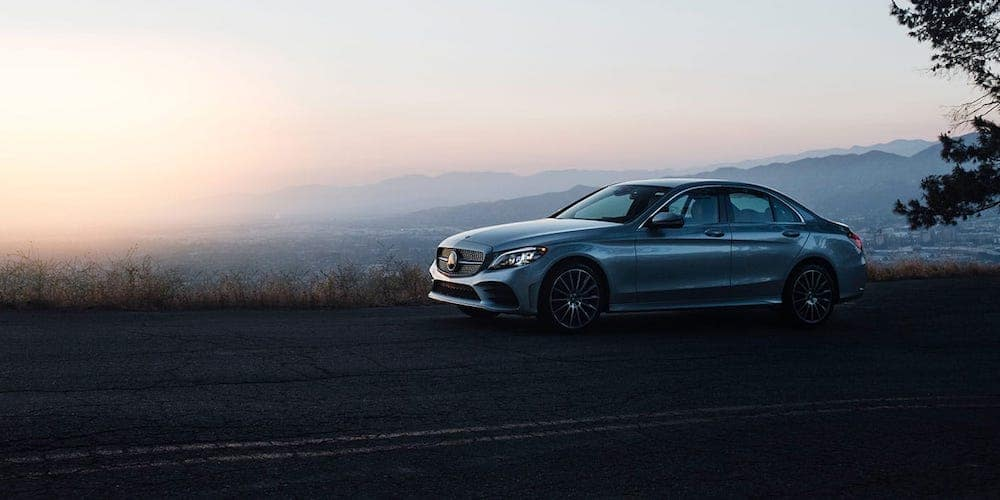 Silver 2019 Mercedes-Benz C-Class Parked on Roadside