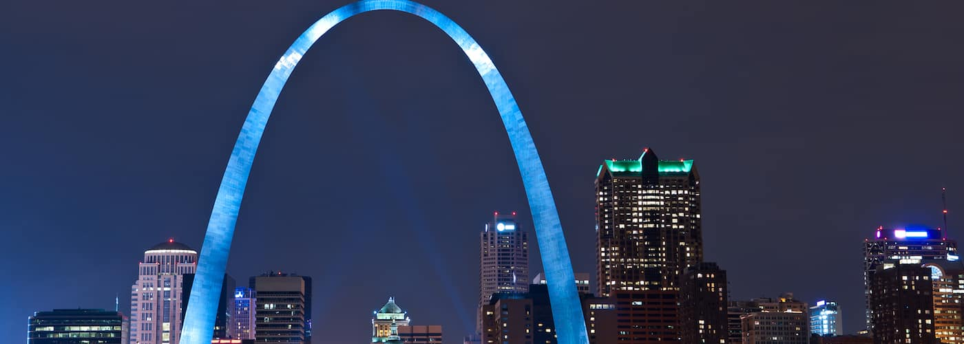 St. Louis Arch Lit Up at Night