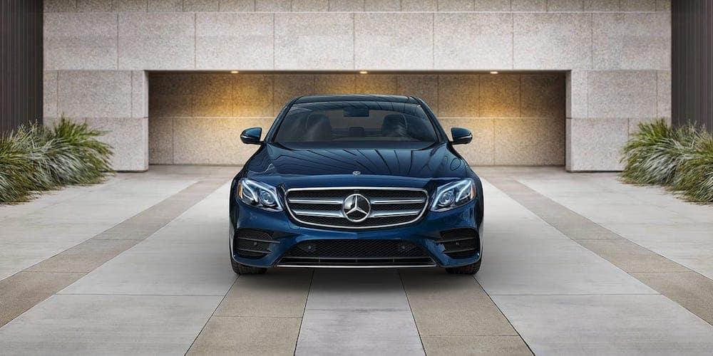 Blue 2020 Mercedes-Benz E-Class Sedan Parked