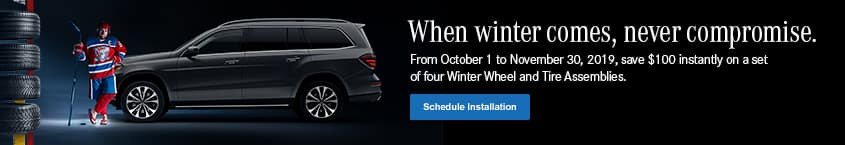 Save $100 instantly on a set of winter wheel and tire assembly