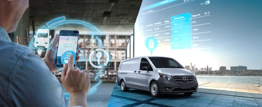 Man using mobile app to connect to Mercedes pro connect