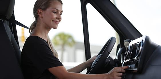 driver sitting behind the wheel