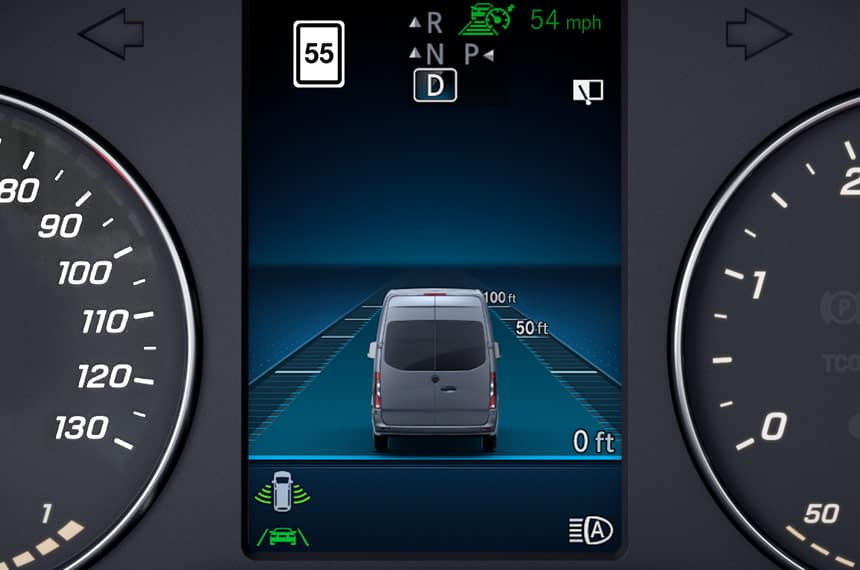 active distance assistance dashboard display