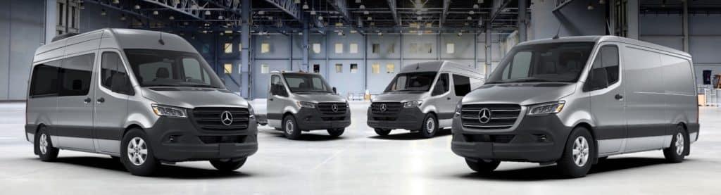 model lineup of 4 sprinter vans