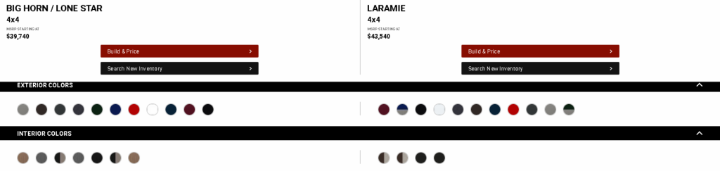 compare exterior color options for the ram model lineup