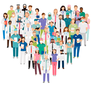 Health care workers standing in the shape of a heart