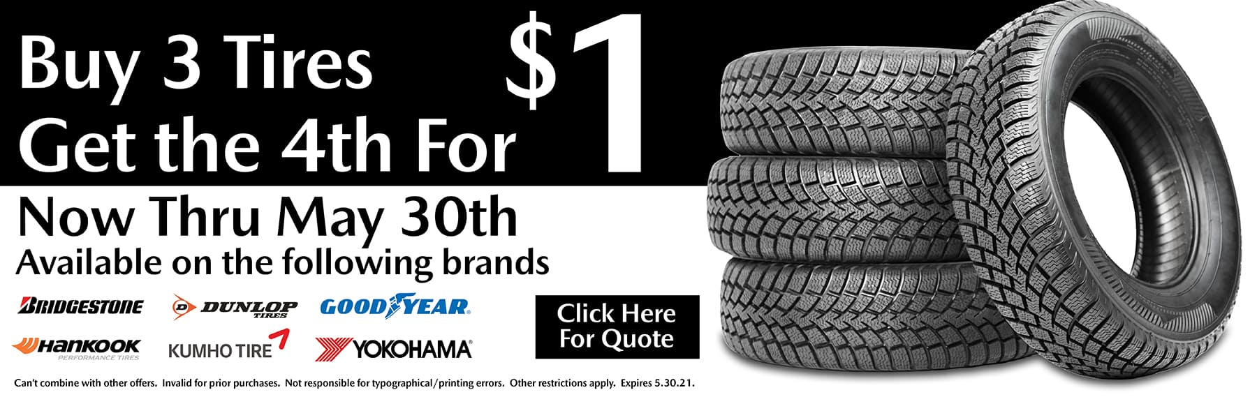 Buy 3 Tires, Get 4th for $1